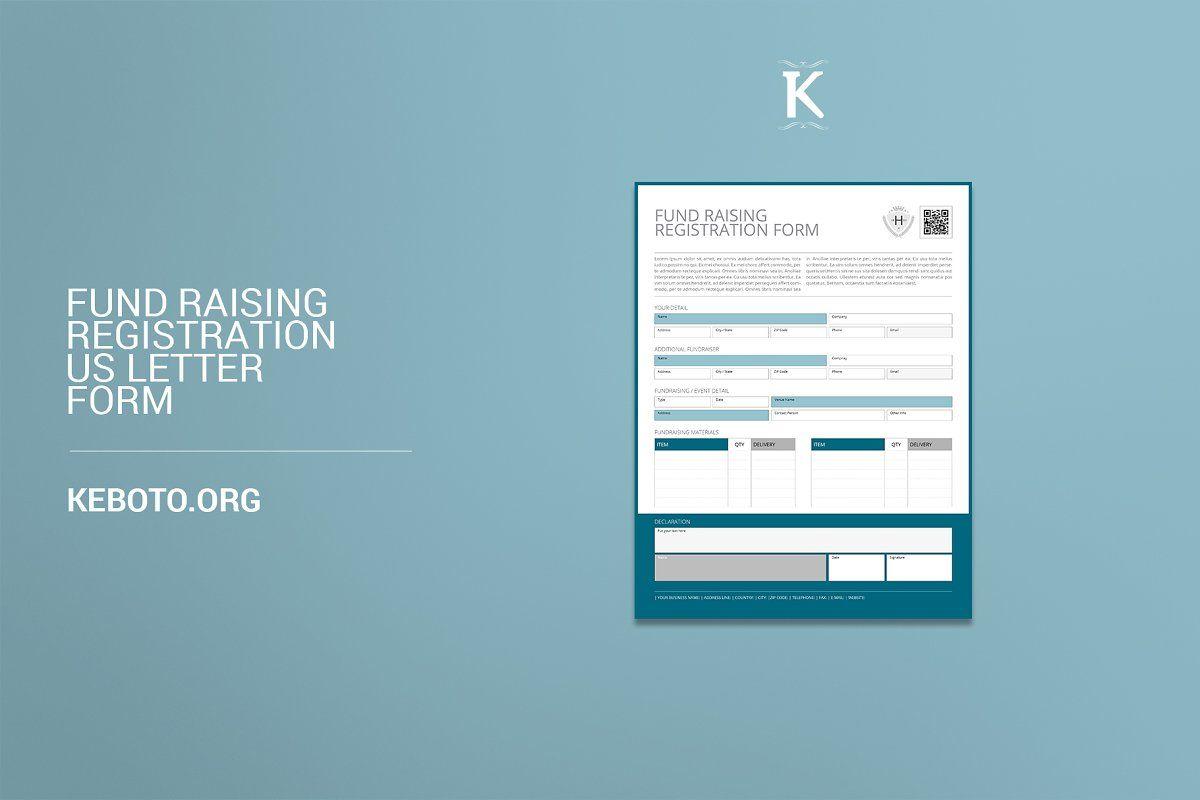 Fund Raising Registration Usl Sponsored Specifications Form Portrait Format Letter Form Lettering Mockup Template