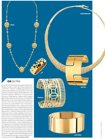 """Or de prix"" : Chanel / Aurélie Bidermann / Fred / Dinh Van / Boucheron / Louis Vuitton"