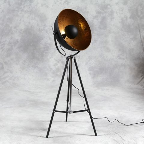 This Large Black Tripod Floor Lamp With Inner Gold Shade Is