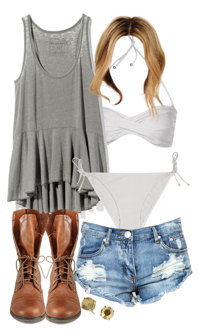 Malia Inspired Beach Outfit by veterization featuring steve-madden shoes  Free People racerback tank top / Reiss ruched bandeau top / Reiss bikini /  Ripped ...