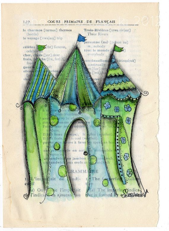 ORIGINAL ART Houses Filled With Joy Blue/Green by www.thecharmingplace.com