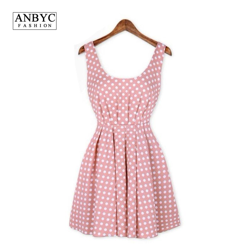 ANBYC women sexy dresses summer 2015 New fashion casual sleeveless dot print elegant Party club models fit and flare QM3857