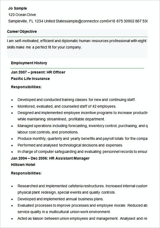 Sample resume template for Human Resources Officer , Hiring Manager