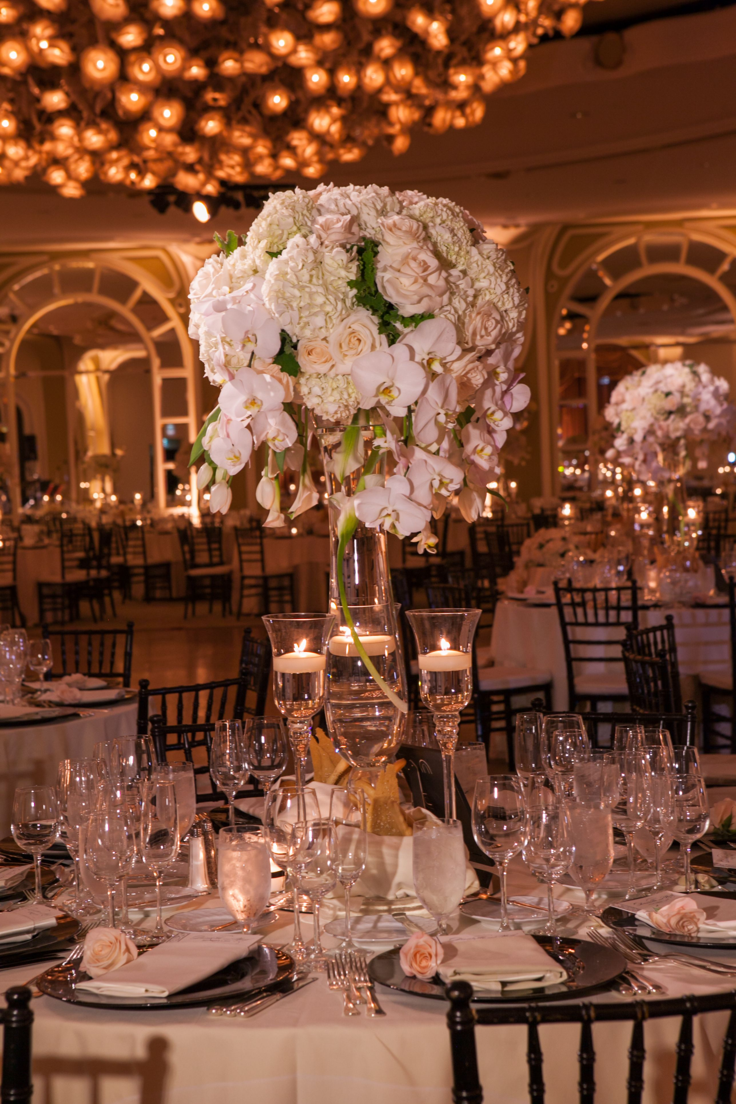 Tall Elegant Centerpiece with Roses, White Hydrangea and Cascading ...