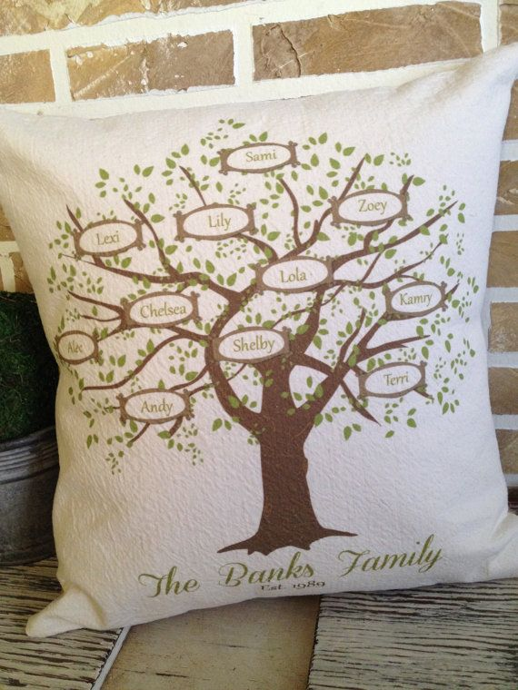 My Family Tree Pillow Personalized with by SimplyFrenchMarket