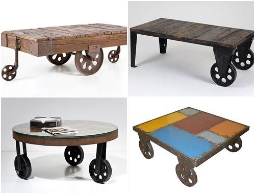 Mesas vintage con ruedas de carro 6 1 mans trash is my Mesas industriales vintage