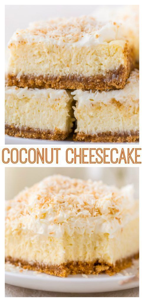 Easy Coconut Cheesecake Bars - Baker by Nature