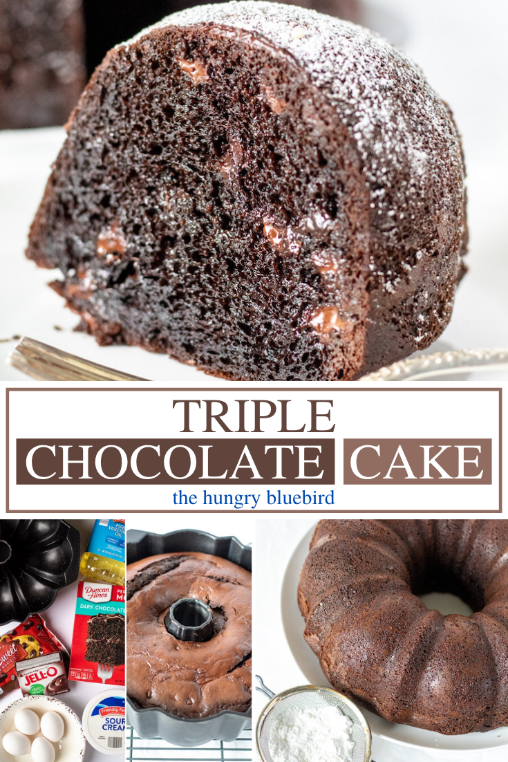 Easy Triple Chocolate Bundt Cake The Hungry Bluebird Recipe In 2020 Chocolate Chip Bundt Cake Chocolate Chip Cake Recipe Sour Cream Chocolate Cake