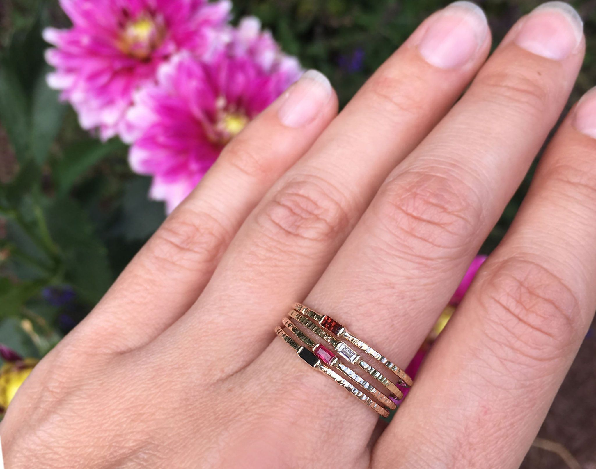 Petite Black Diamond Baguette Hammer Texture Ring   Weddings