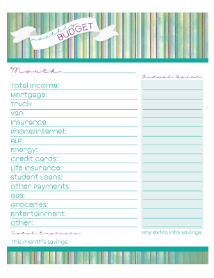 Heather Rolin Free Monthly Budget Printable  Budgeting
