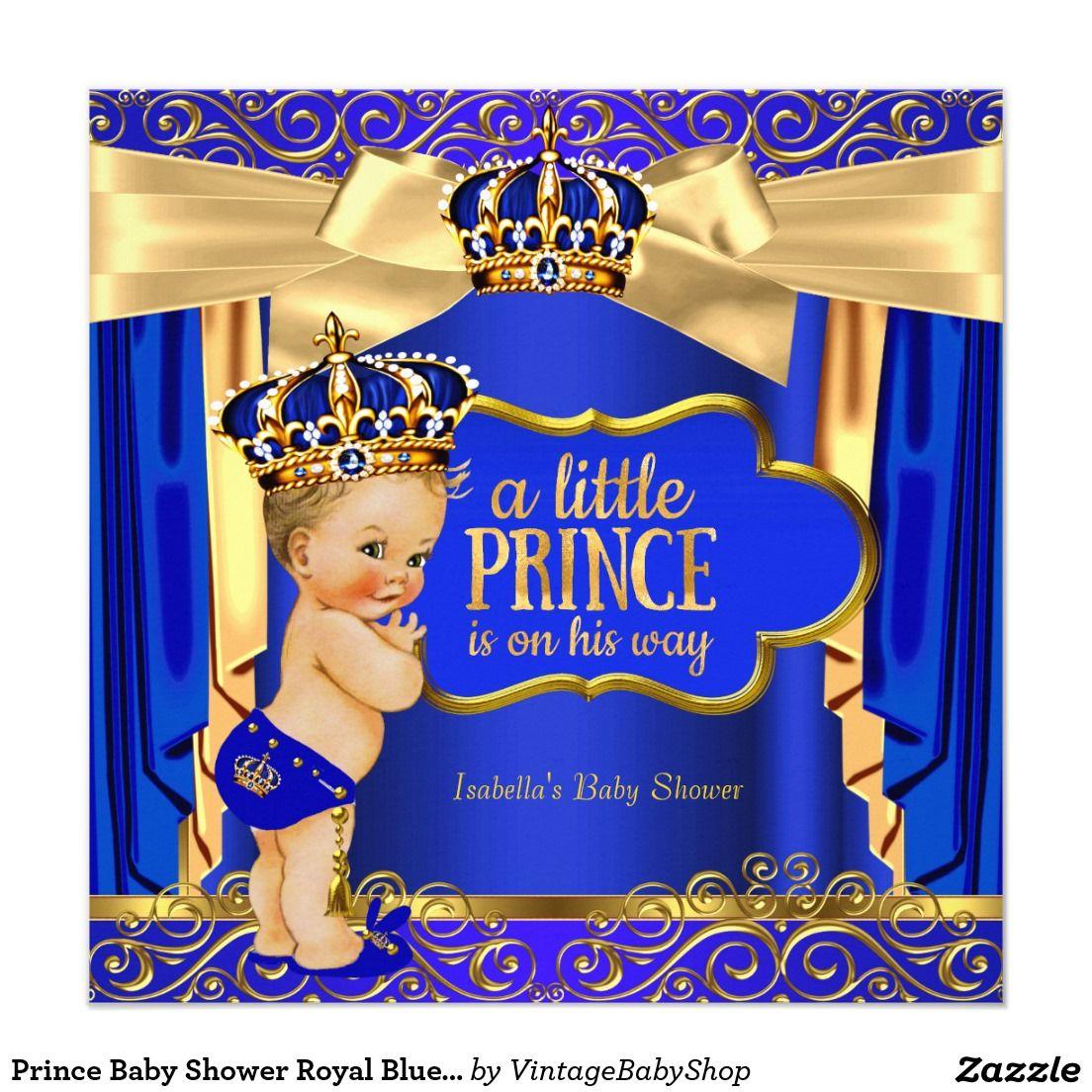 Prince Baby Shower Royal Blue Gold Drapes Blonde Invitation | Dzieci ...