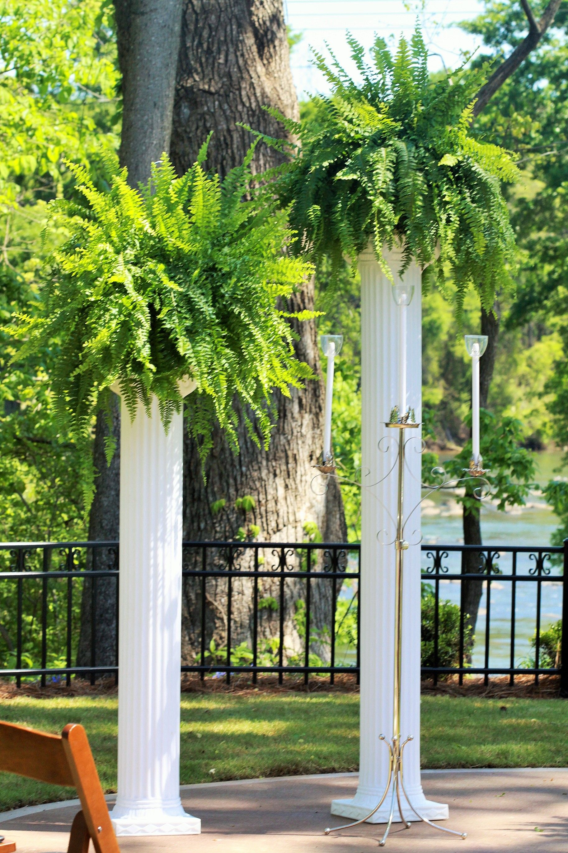 Wedding Decor Tall White Columns With Ferns Close Up Event Decor
