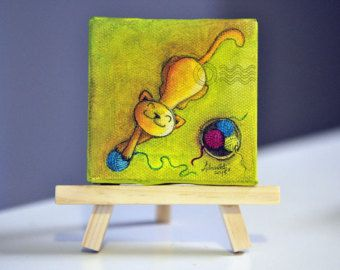 Whimsical Cat Mini Canvas Oil Painting 3 x 3 inches, Yellow Cat  playing with yarn - wooden easel included - gift for cat lovers - ArtbyAfox
