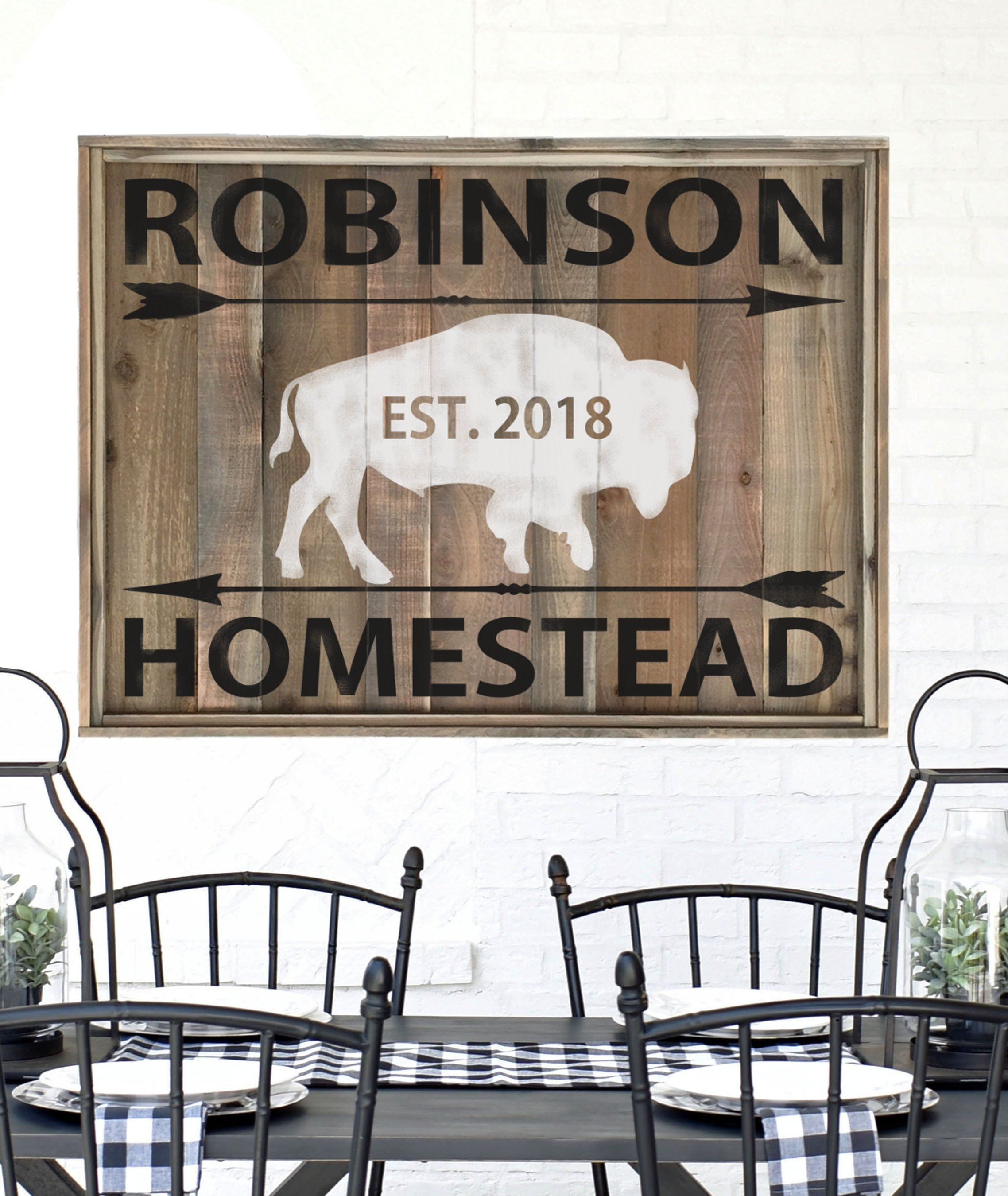 Farmhouse decor family established sign last name sign