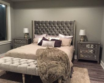 Extra Wide King Diamond Tufted Headboard And Bench Set In White Velvet Tall