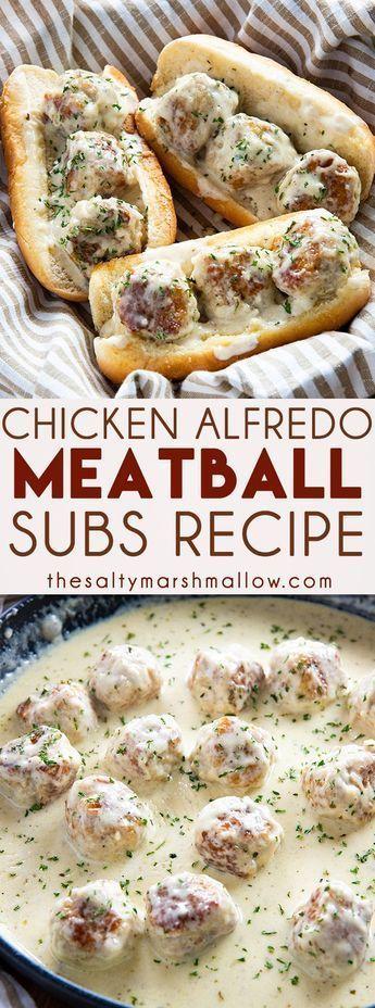 Chicken Alfredo Meatball Subs #sandwichrecipes