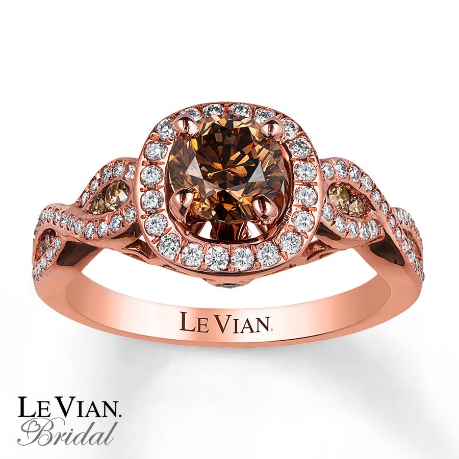Le Vian Features A Round Chocolate Diamond At The Center Framed In Sweet Vanilla Diamonds Swirls Of Strawberry Gold Along Band Are Decorated With