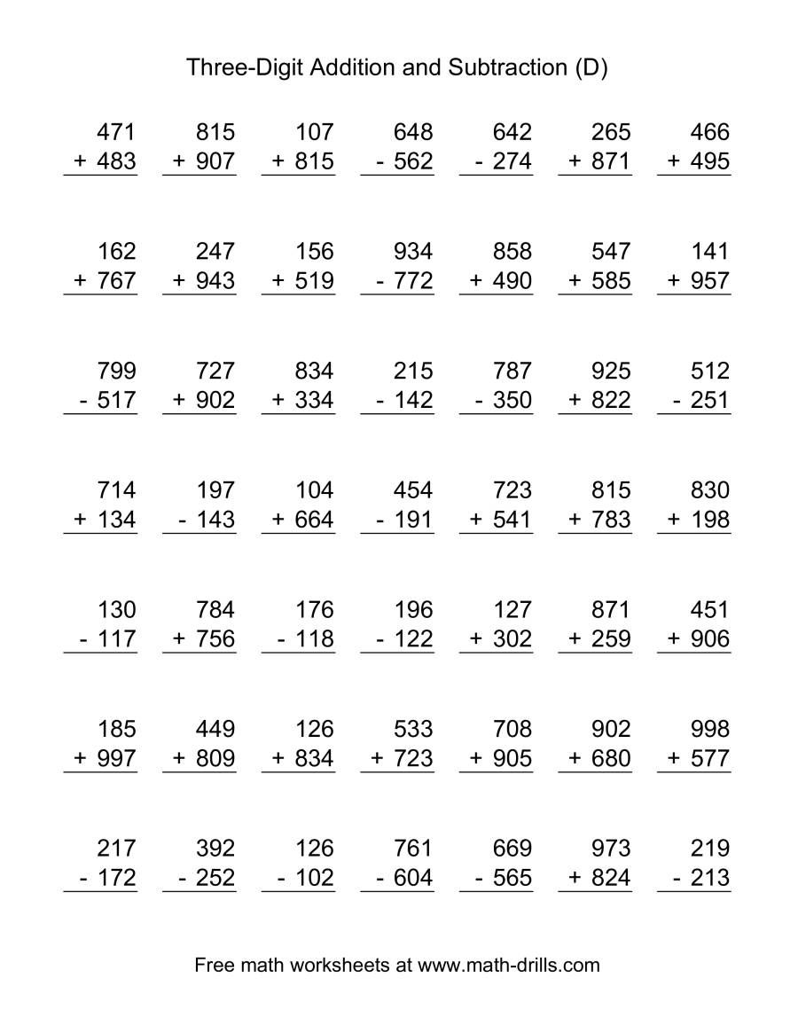 The Adding And Subtracting Three Digit Numbers D Math Worksheet Math Subtraction 2nd Grade Math Worksheets Math Subtraction Worksheets [ 1165 x 900 Pixel ]