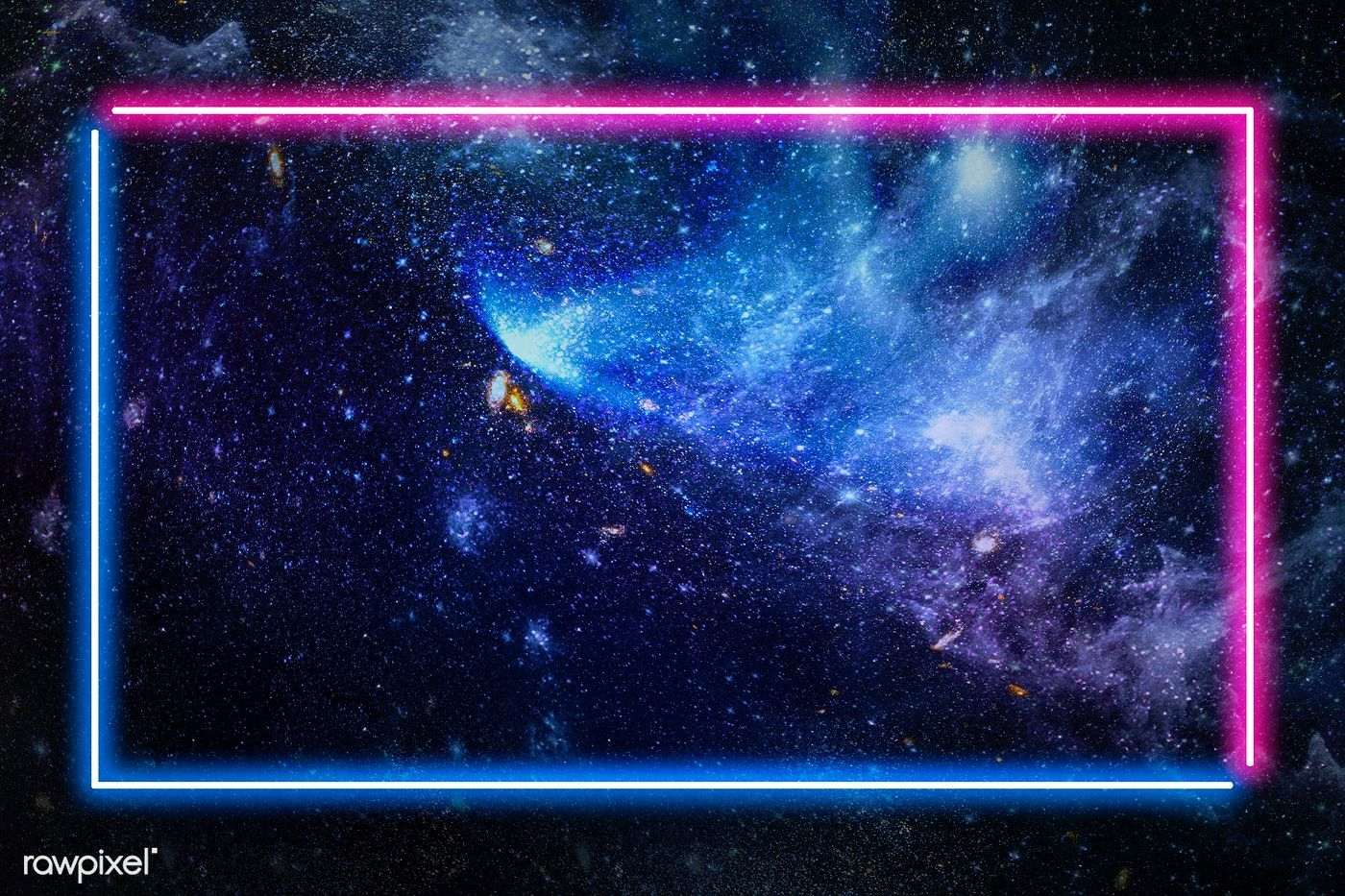 Download Premium Illustration Of Pink And Blue Neon Frame On A Dark Galaxy Dark Galaxy Galaxy Background Galaxy