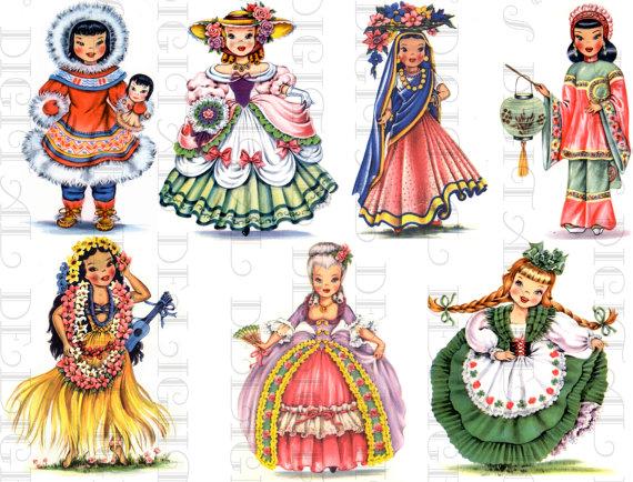 Dolls Of Many Countries Vintage Illustrations Digital Collage Etsy In 2020 Vintage Illustration Digital Collage Paper Dolls