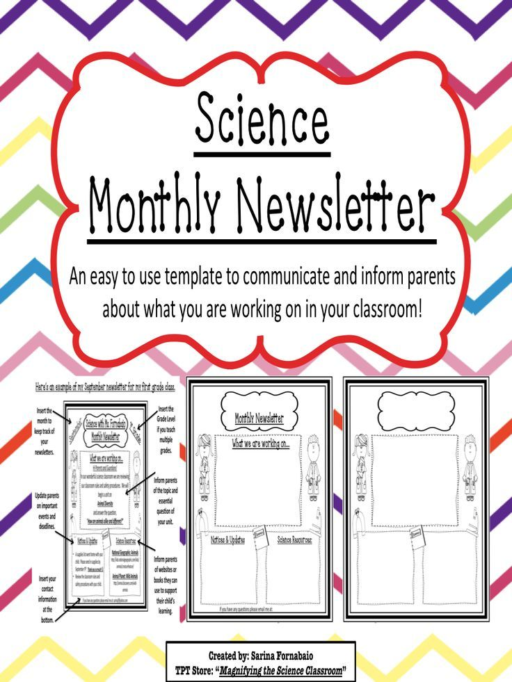 science monthly newsletter editable templates classroom