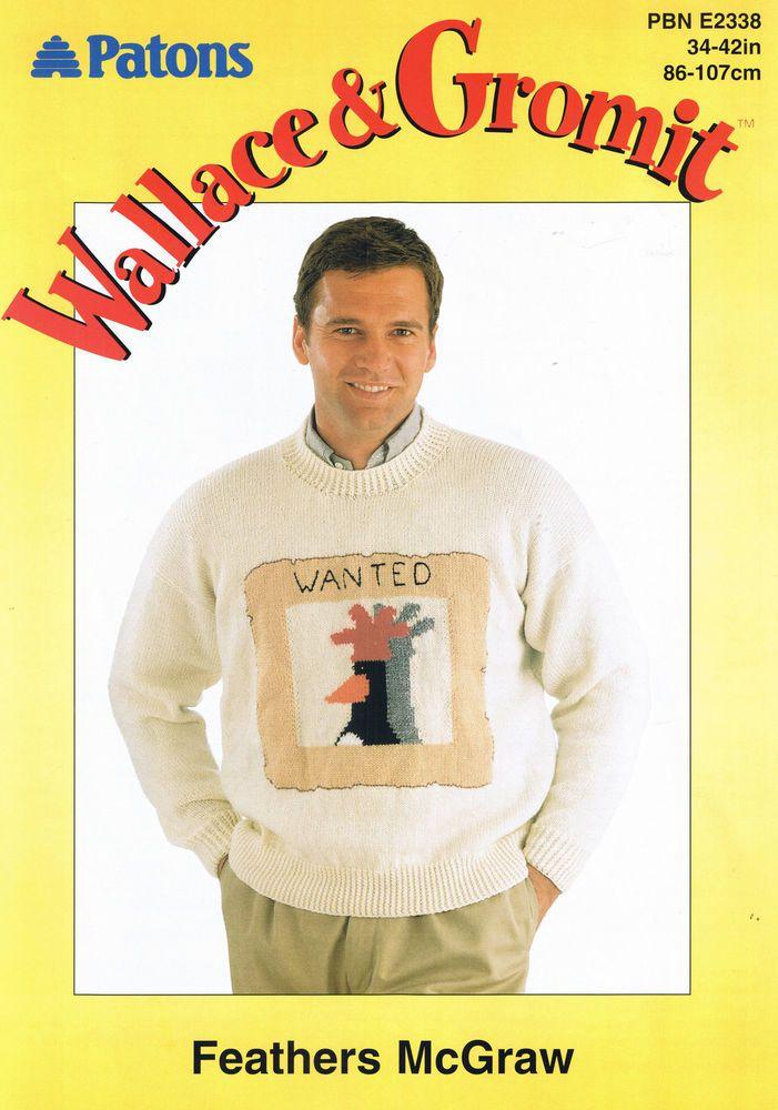 Wallace & Gromit Feathers McGraw Sweater /Jumper DK Pattern PBN ...