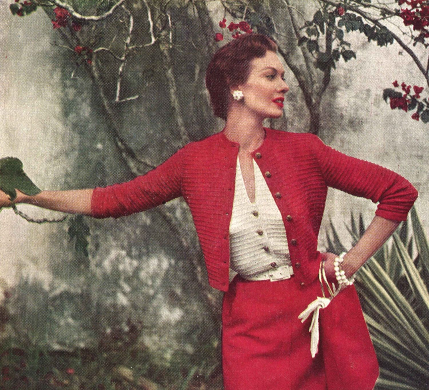 Scarlet twinset 1950s knitting twin set cardigan sweater top scarlet twinset 1950s knitting twin set cardigan sweater top blouse 50s vintage vogue bankloansurffo Choice Image