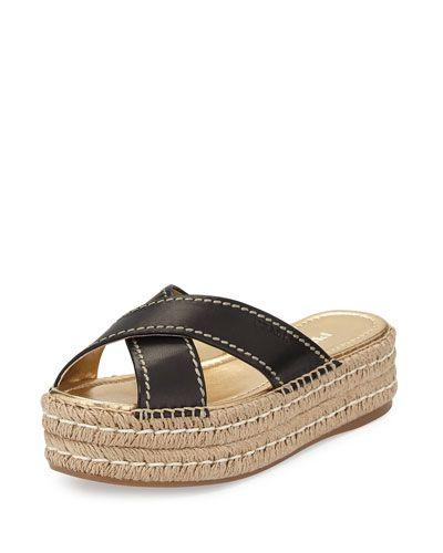 X2YCA Prada Leather Crisscross Espadrille Slide Sandal 8328d5c86c377