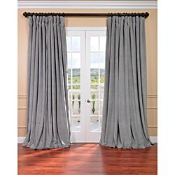 Exclusive Fabrics Silver Grey Velvet Blackout Extra Wide Curtain
