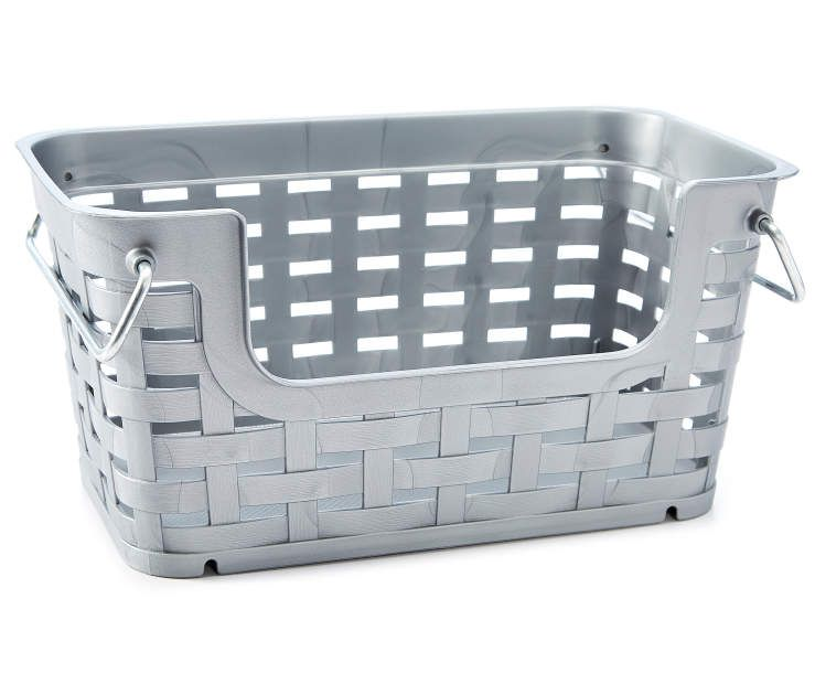 Large Gray Stackable Weave Basket With Handles Big Lots In 2020