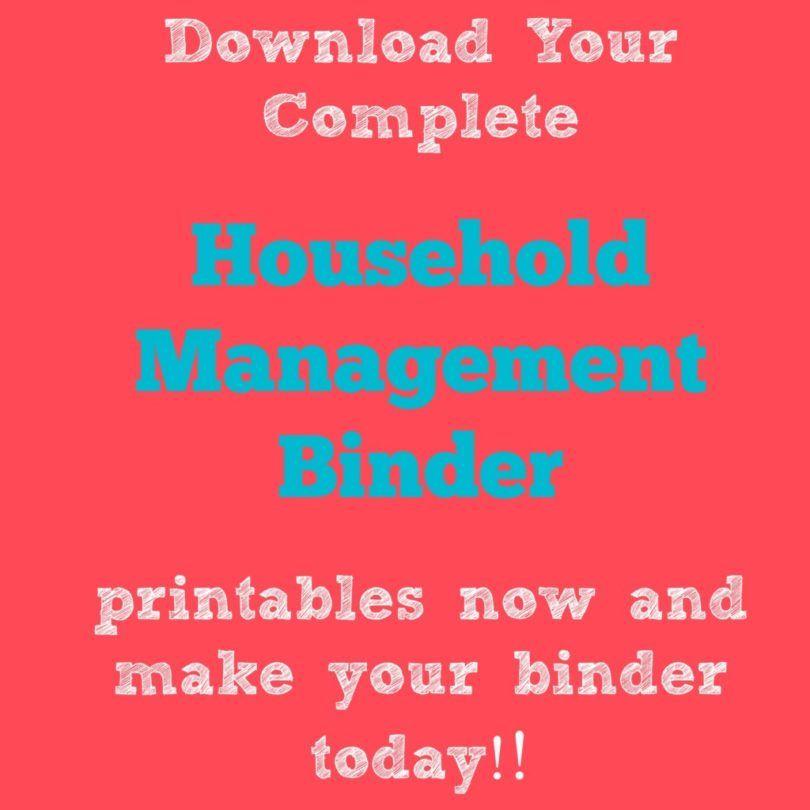 Household management Binder Printable Jpeg