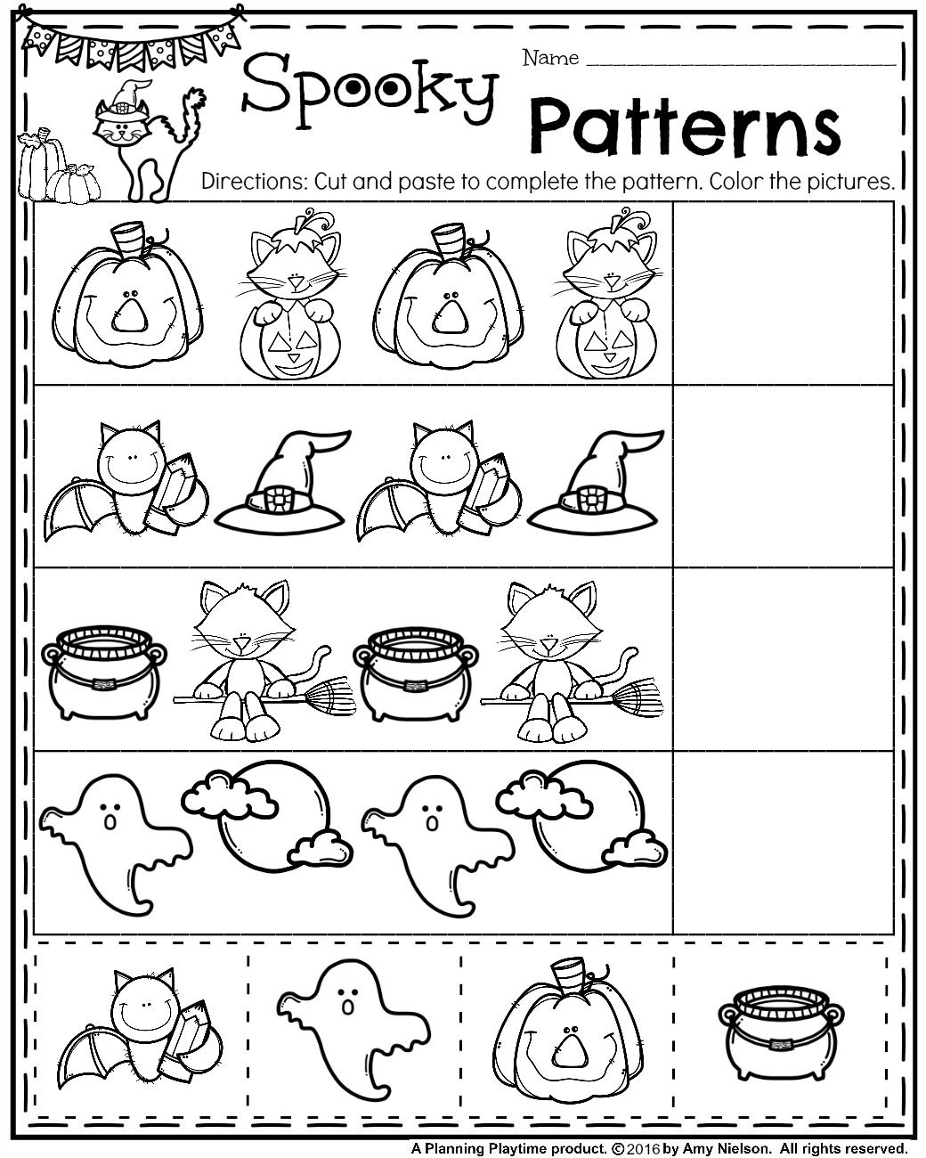 Preschool Pattern Worksheets For October