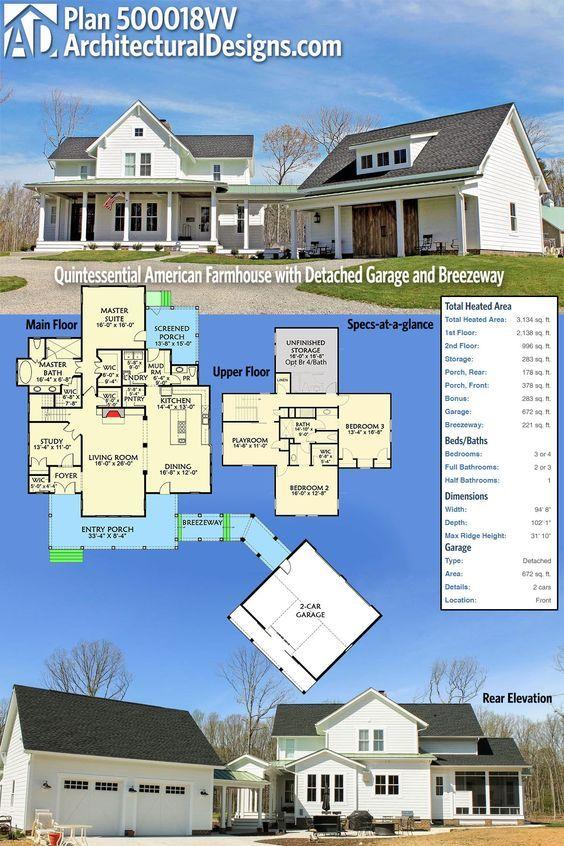 Plan 500018vv Quintessential American Farmhouse With Detached Garage And Breezeway Farmhouse Plans House Plans American Farmhouse