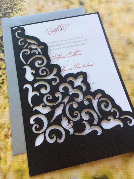 Lasercut Wedding Invitation Sleeve Pocket Elegant Scroll Pattern