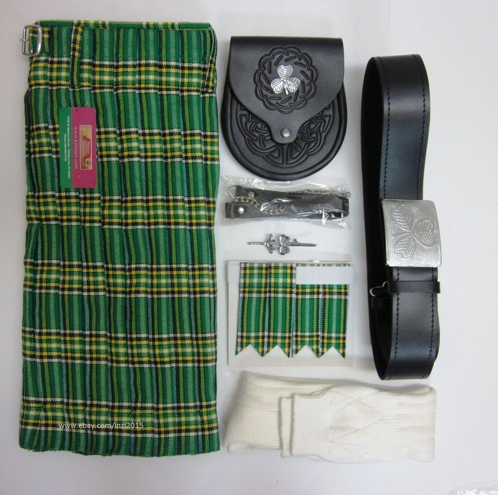 Irish Heritage Tartan Kilt Outfit 6 Piece Package Waist