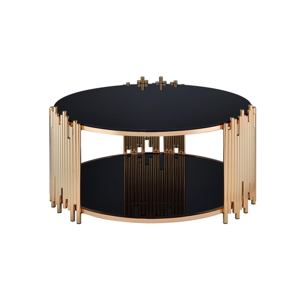 Acme Furniture Tanquin Black Glass And Gold Coffee Table 84490 Gold Coffee Table Black Coffee Tables Coffee Table