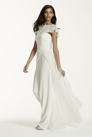 4852727225cb Crepe Jumpsuit With Chiffon Side Drape   Removable Beaded Capelet...Galina  Signature For David s Bridal