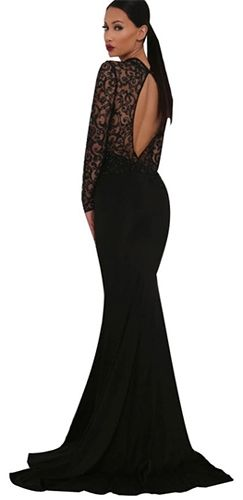 e11d9f7fe2c Red Carpet Ready Black Sheer Lace Long Sleeve Mock Neck Cut Out Back Mermaid  Maxi Dress Evening Gown