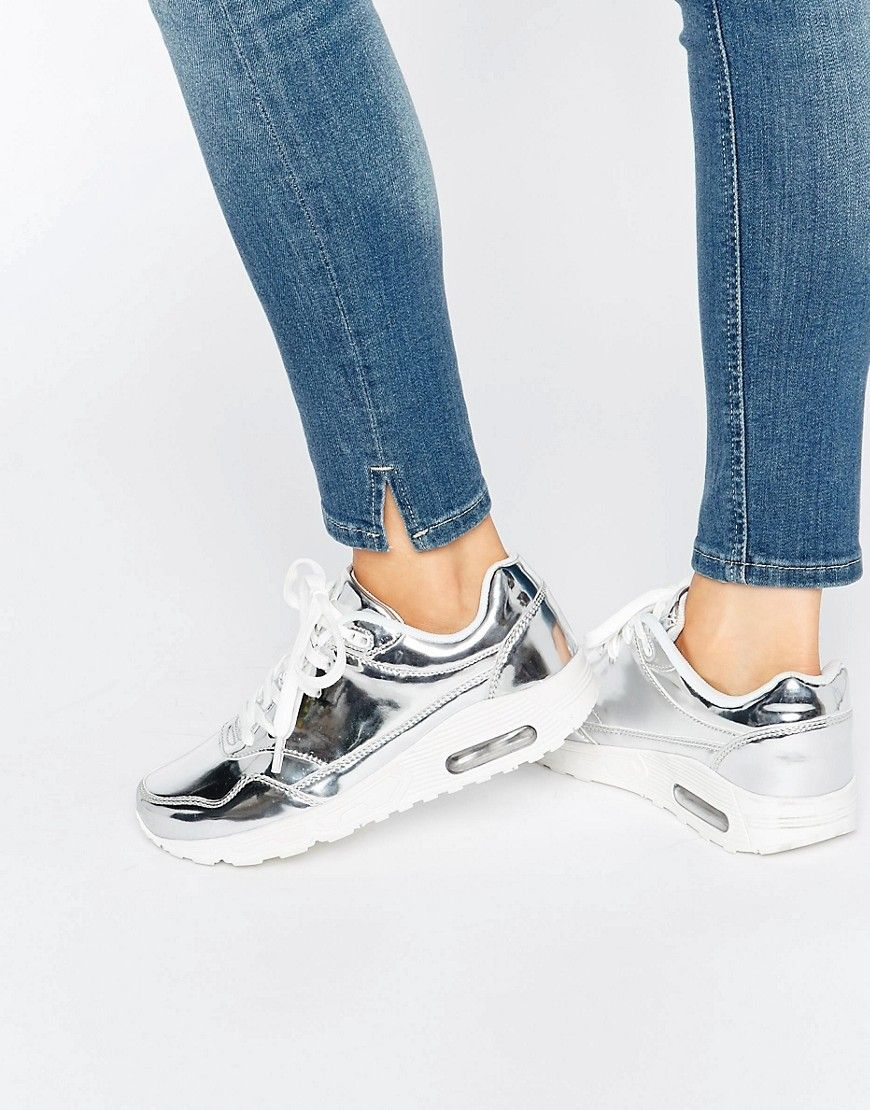 Shop Missguided Metallic Trainer at ASOS.