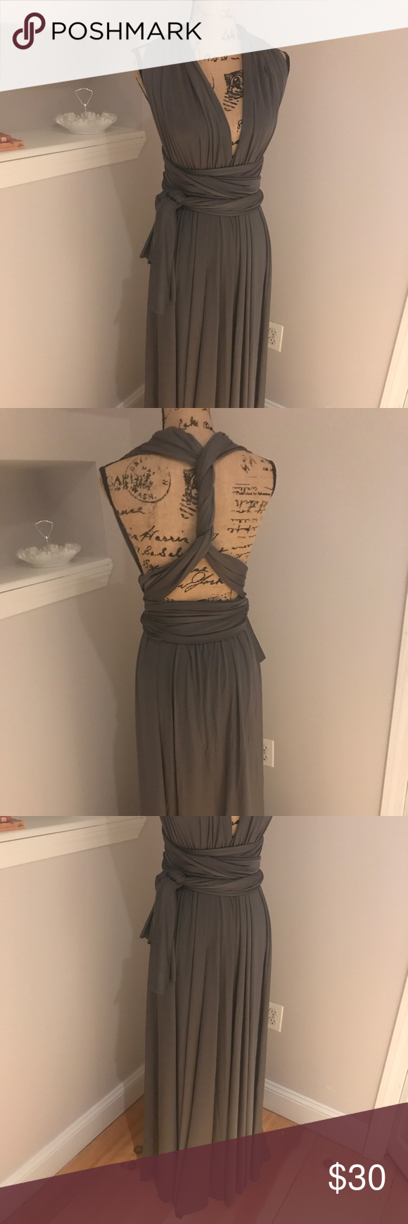 Infinity wrap dress regular and plus Beautiful charcoal infinity wrap dress!  One size fits all.. this will fit from S to XXL.  Sooo many ways to wear this dress and it is flattering on every body type!  This was worn once to a wedding and fit a size 24 great!  So comfortable Dresses