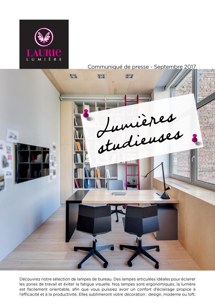 Laurie Lumiere Communique De Presse Lumieres Studieuses Lampes De