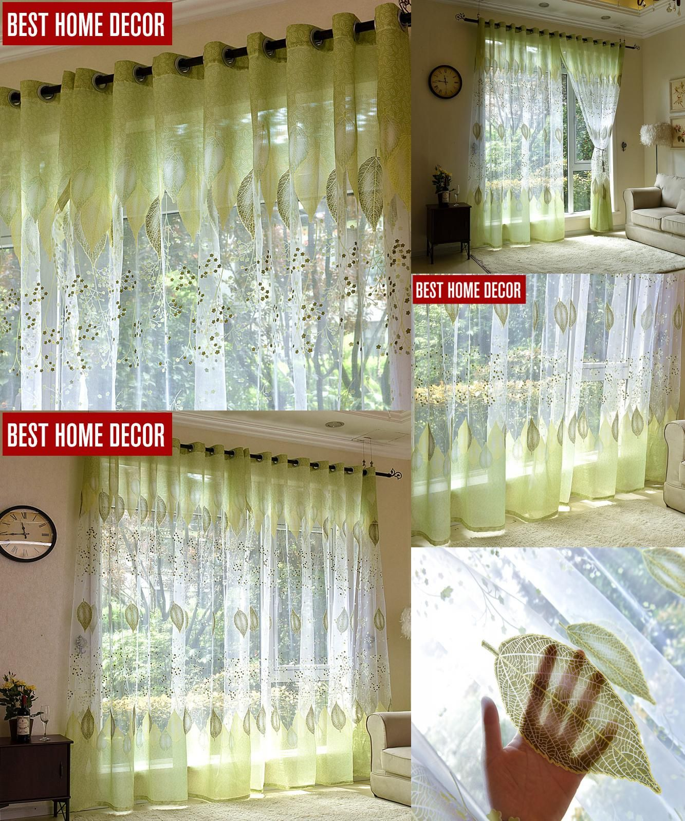 Elegant [Visit To Buy] BHD Sheer Tulle Window Curtains For Living Room The Bedroom  The Kitchen Modern Tulle Curtains Green Leaves Fabric Blinds Drapes
