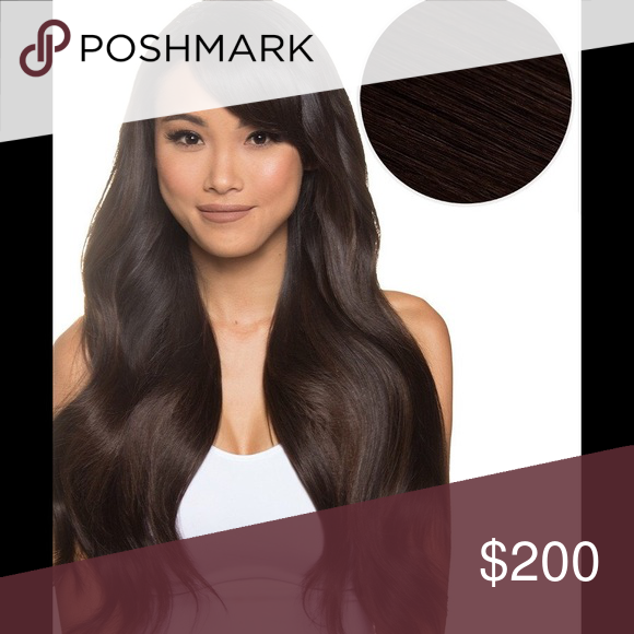 Bellami Magnifica Hair Extensions 240 grams 24 in real human hair clip in  extensions by Bellami. Color is 1C mochachino brown. Worn once 4db358505a