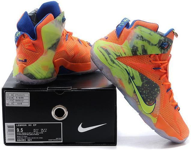 83dd0fd5ead0 LeBron 12 PS Elite Orange Green Blue Grey Shoes0