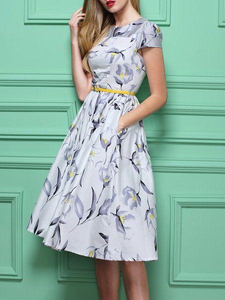 Printed Cotton Midi Dress with Belt