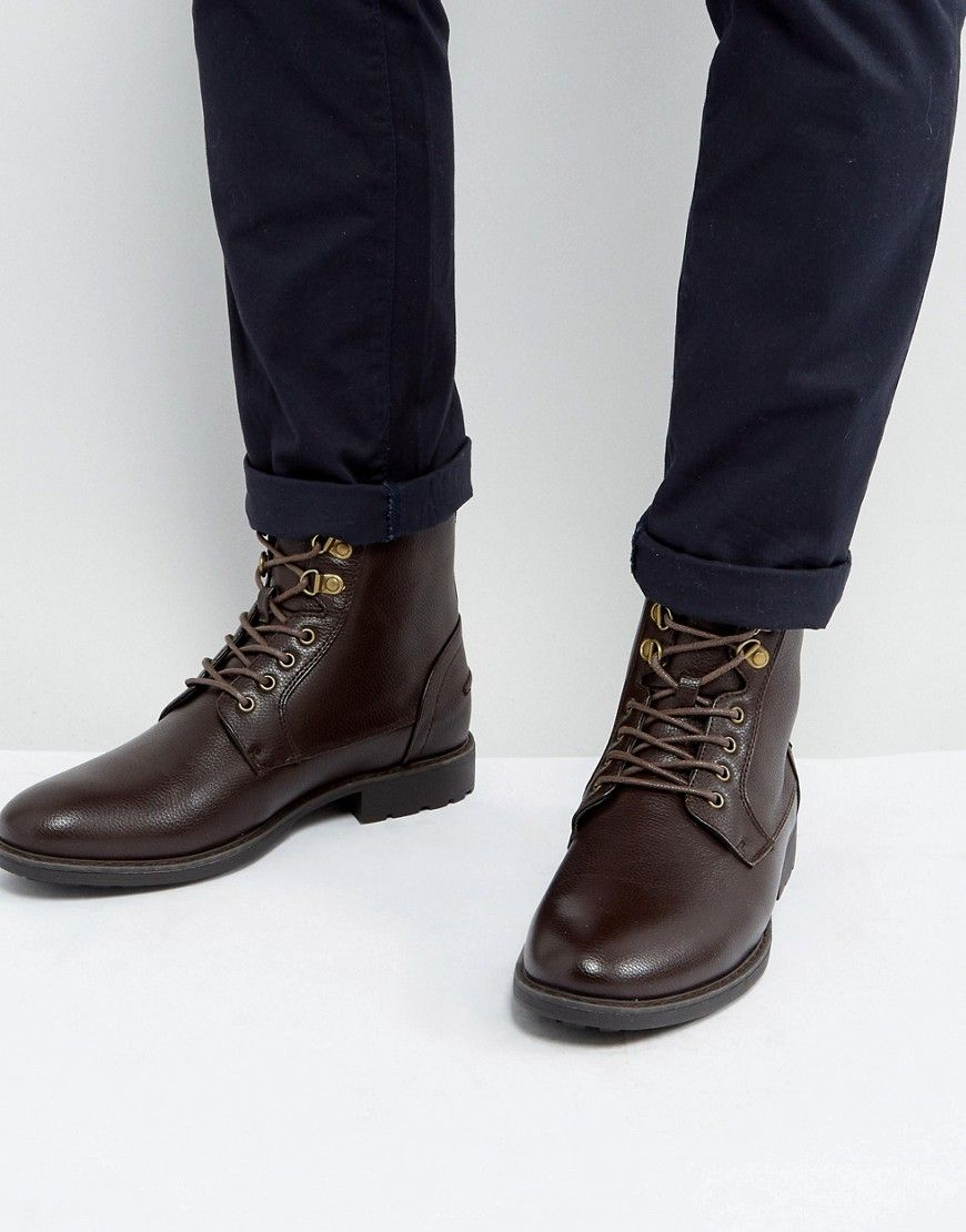ASOS Work Boots In Brown Faux Leather  Brown