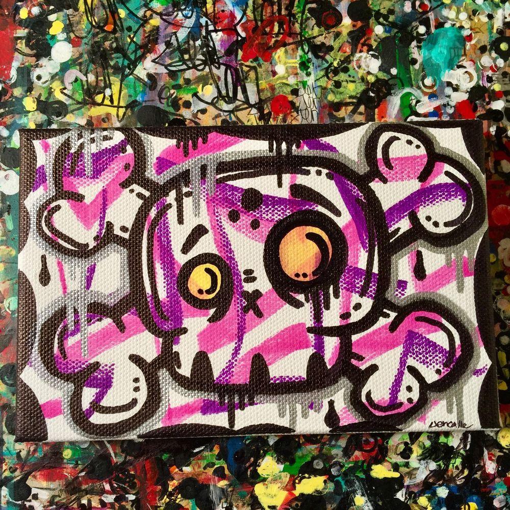Jencalle original graffiti art canvas pop outsider