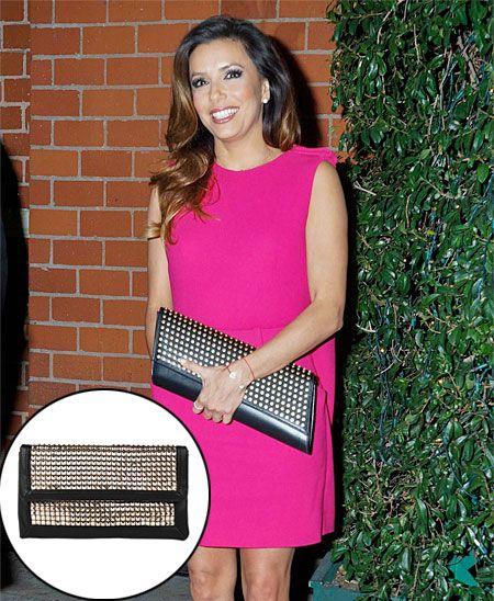 EVA LONGORIA  La actriz completó su look con una cartera tipo sobre Saint Laurent con tachuelas doradas, que cuesta nada menos que $2,316. S...