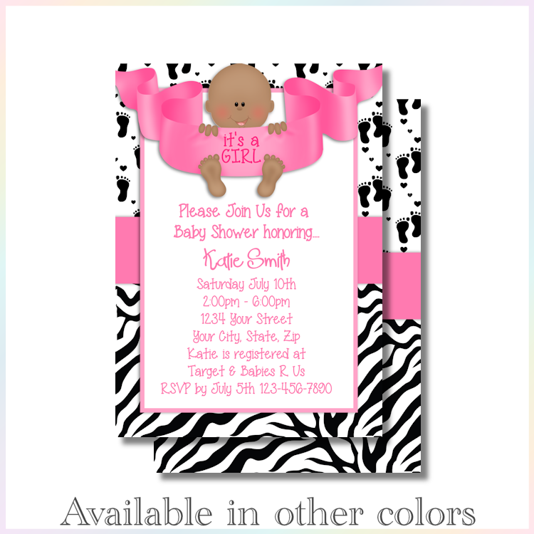 Personalized Printable Invitations | Baby Feet Girl | Baby Shower