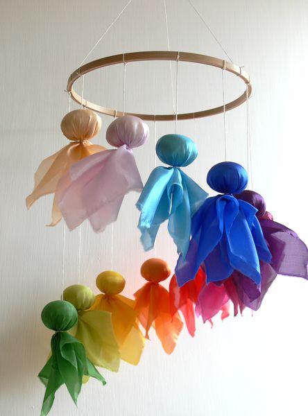 Fairy Mobile In Rainbow Colours From Holz Stoff Werkstatt By Dawanda